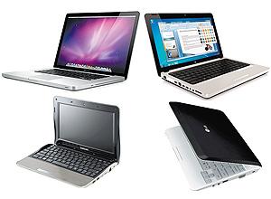 Em sentido horário: Apple MacBook Pro, HP G42, LG X140 e Samsung NF210