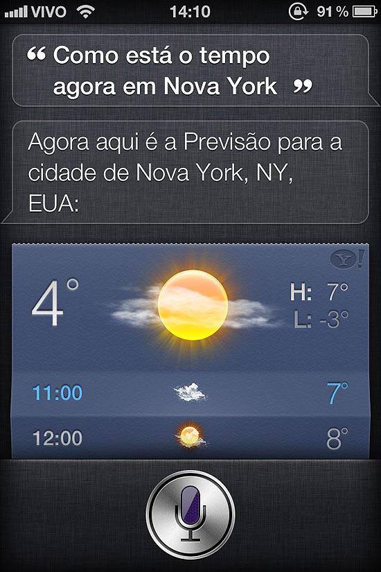 Tela do Siri, assistente pessoal do iPhone 4S, traduzido para o português