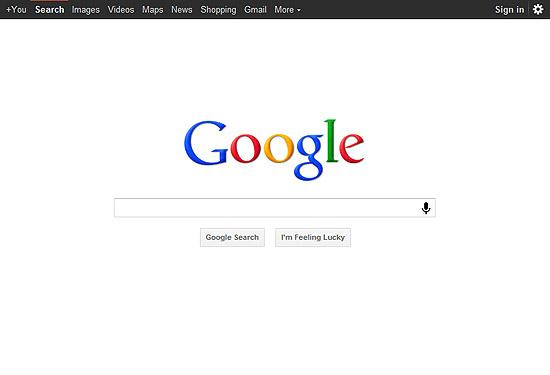 Página inicial de busca do Google