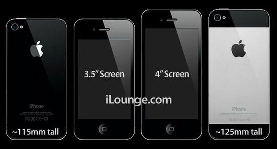 """Imagem criada pelo site """"iLounge"""" compara um suposto iPhone 5, com tela de 4 polegadas, à versão atual"""
