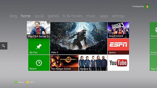 Novo visual da Xbox Live, que tem agora um espaço para o usuário 'pinar' conteúdos