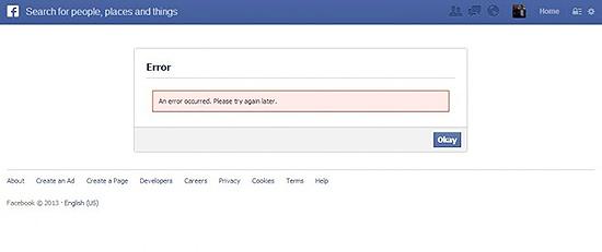 """Mensagem que era exibida por causa de erro no botão de """"curtir"""" do Facebook, o qual impediu acesso a sites"""
