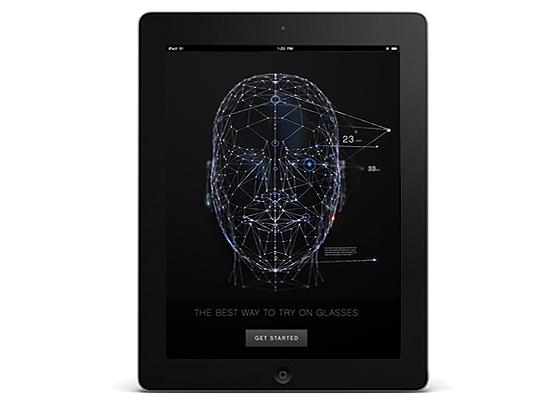 Aplicativo da 1-800 Contacts para ver imagens de seu próprio rosto em 3D e testar óculos virtualmente
