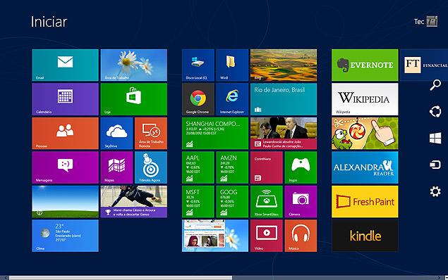 Imagem do Windows 8, sistema da Microsoft que receberá atualização gratuita para a versão 8.1
