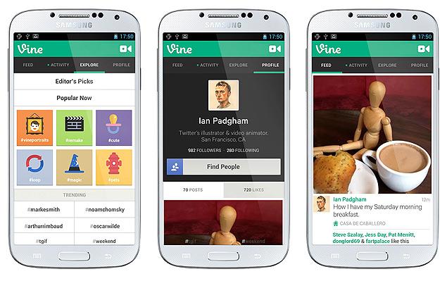 Vine, aplicativo de vídeos curtos, em funcionamento no Android