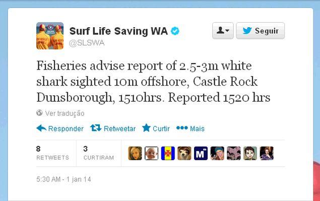 Tuíte convertido de sinal emitido por um tubarão branco que se aproximou da costa oeste da Austrália