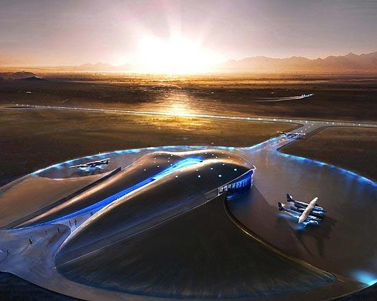 Vista aérea do Spaceport America, aeroporto espacial localizado no Novo México (EUA), que será usado pela empresa Virgin Galactic para levar turistas ao espaço