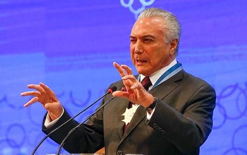 O presidente Michel Temer participa da abertura do 3º Encontro Nacional de Chefes de Agências do IBGE, em Brasília, nesta segunda