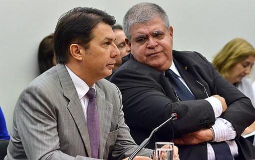 Os deputados Arthur Maia (relator) e Carlos Marun (presidente) na comissão de reforma da Previdência