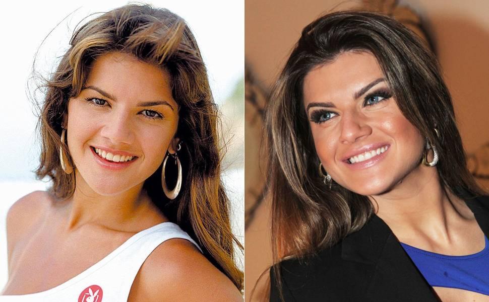 Mirella Santos na época de modelo e agora