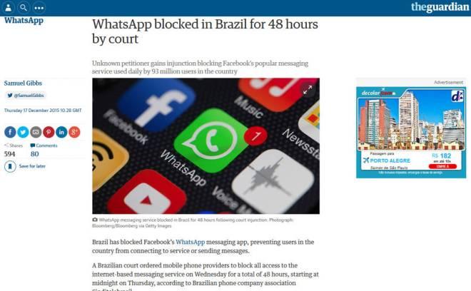 WhatsApp bloqueado repercute no mundo
