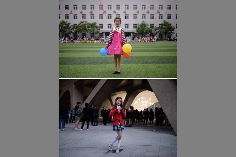Montagens de fotos mostram vidas paralelas na Coreia do Norte e na Coreia do Sul