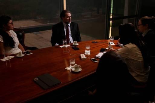 O presidente do STF, Dias Toffoli, em entrevista à Folha no seu gabinete