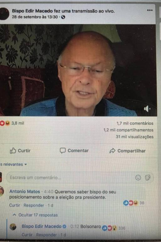 No Facebook, bispo Edir Macedo diz que apoia Bolsonaro