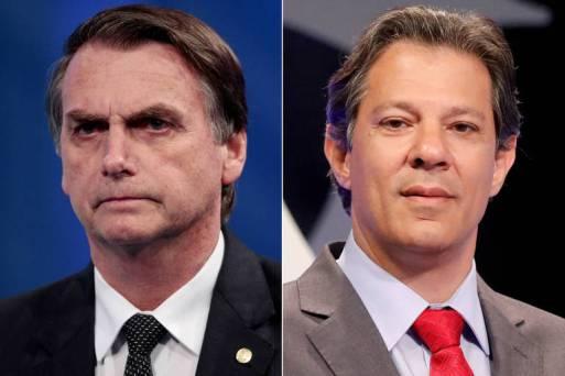 Os líderes da corrida eleitoral, segundo o Datafolha, Jair Bolsonaro (esq.) e Fernando Haddad
