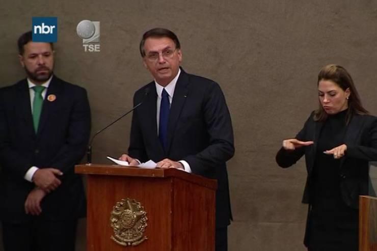 O presidente eleito, Jair Bolsonaro (PSL), durante cerimônia de diplomação no TSE (Tribunal Superior Eleitoral), em Brasília