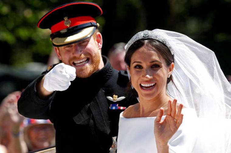 Harry e Meghan durante seu casamento em 2018