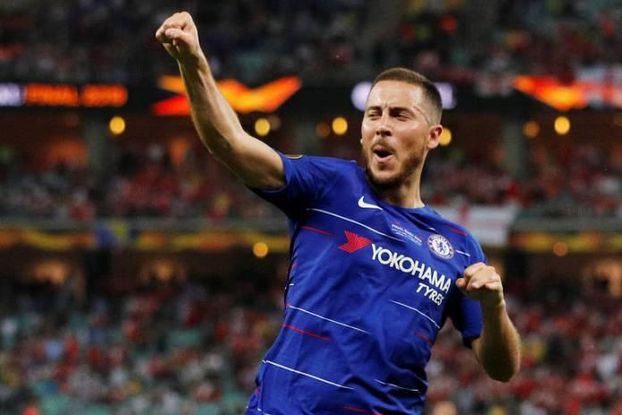 Hazard comemora o quarto gol do Chelsea na final da Liga Europa contra o Arsenal