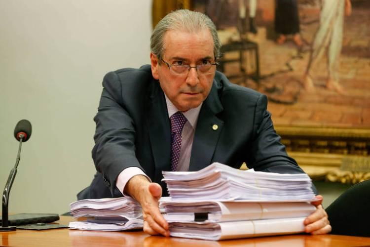 Eduardo Cunha (MDB-RJ), na época de seu processo de cassação, em reunião na Comissão de Constituição e Justiça da Câmara que tratava de um recurso apresentado por sua defesa