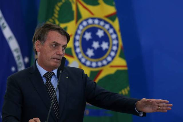 O presidente Jair Bolsonaro, durante cerimônia no Palácio do Planalto