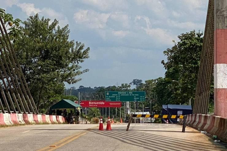 Rodovia do Pacífico, na fronteira entre Brasil e Peru, fechada desde o último dia 15 por causa do coronavírus; as cidades fronteiriças são Assis Brasil (AC) e Iñapari