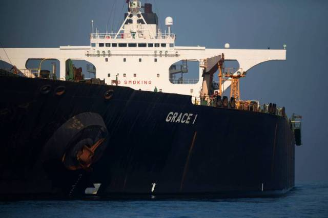 O petroleiro iraniano Grace 1, que foi apreendido por britânicos no ano passado em Gibraltar