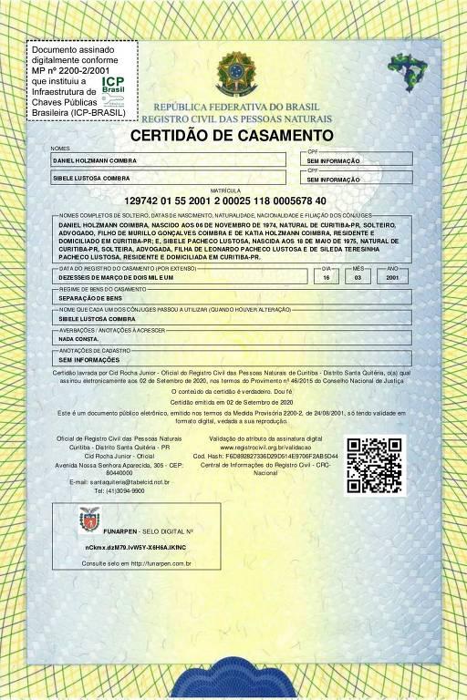 Certidão de casamento da juíza Sibele Lustosa e do procurador Daniel Holzmann Coimbra