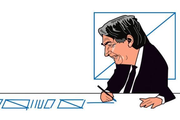 Ilustração de Carvall publicada na coluna Ombudsman do dia 13 de junho de 2021. Na imagem o presidente Bolsonaro está sentado à mesa e rabisca com a mãe direita o jornal.