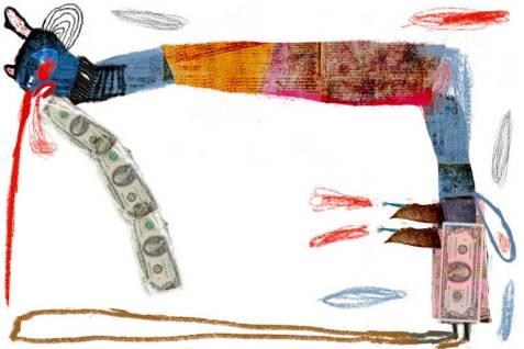 Ilustração de pessoa estilizada com cabeça e pernas azuis, aterais da cabeça e roupa azuis. Da boca dela, saem traços vermelhos e notas de dólar