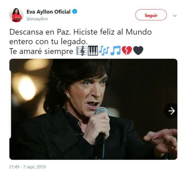 La artista criolla Eva Ayllón envió unsentido mensaje en memoria de Camilo Sesto.
