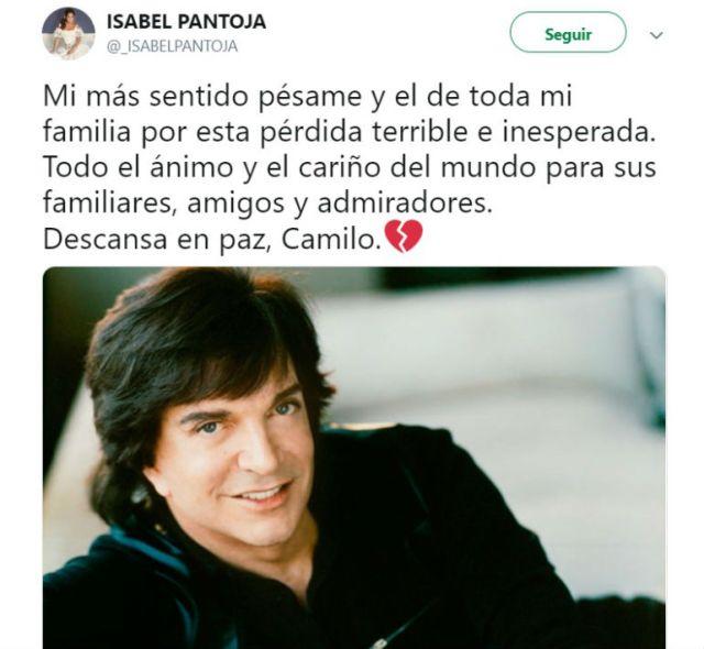 Isabel Patojalamentó el fallecimiendo de Camilo Sesto con las palabras