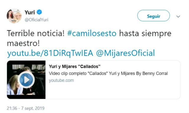 La cantante mexicana Yuri  lamentó la