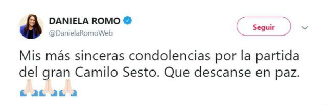 La actriz y cantante Daniela Romo brindó sus  condolencias por la partida delintérprete.