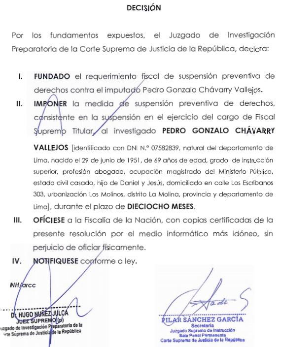 Rosolución  que suspende a Pedro Chávarry.