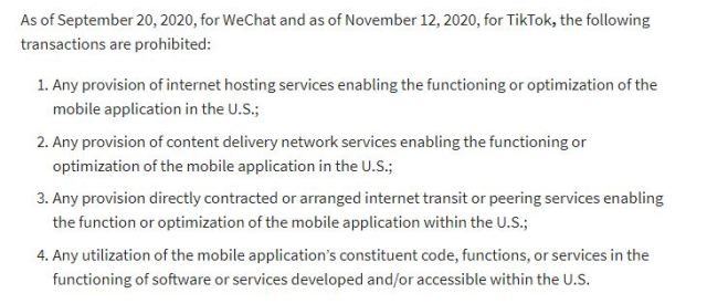 Otro grupo de sanciones que complementarán la prohibición de la apps. WeChat las recibirá primero y TikTok en noviembre.