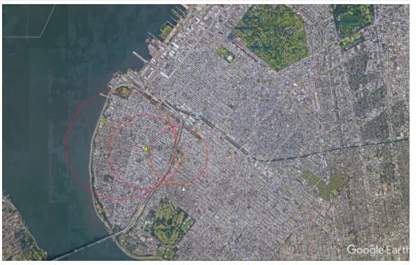 La conjunción de los tres círculos revela la localización de un usuario.