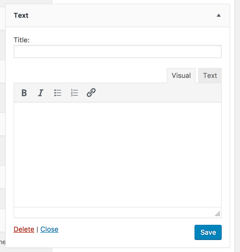 Text Widget WordPress 4.8