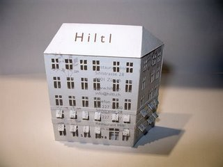 Tiny Buildings Made From Business Cards