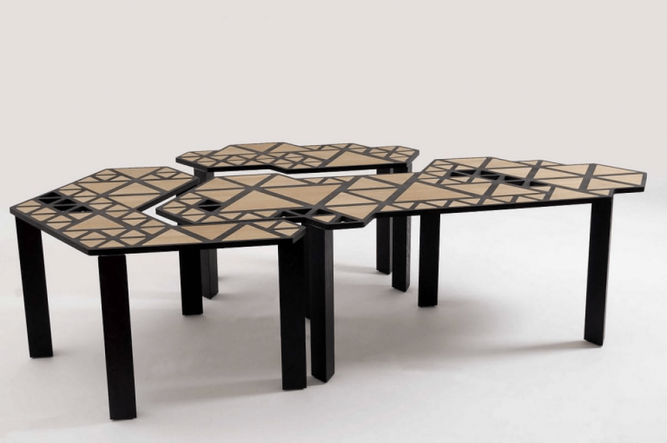 gambar meja unik geometris - the swarm table