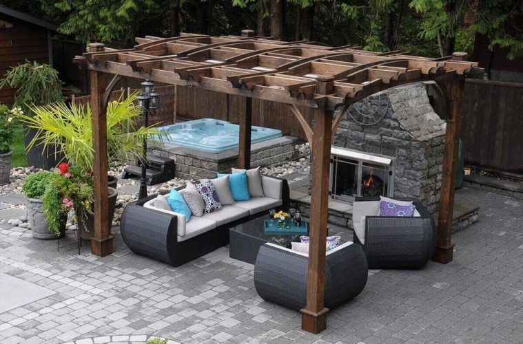 wooden pergola is designed in a very simple style