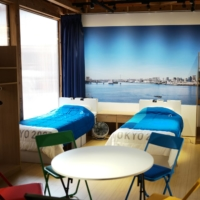 A mock replica at the main plaza facility of the Olympic and Paralympic Village, which was unveiled to the press Sunday, shows what a typical room for an athlete will look like during the Tokyo Games. | RYUSEI TAKAHASHI