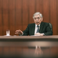 Bank of Japan Gov. Haruhiko Kuroda speaks during an interview at the central bank's headquarters in Tokyo in May. | BLOOMBERG