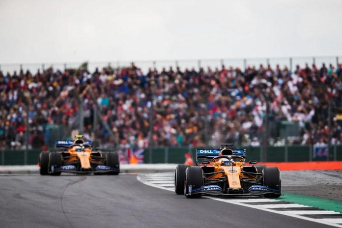 2019 British Grand Prix, Sunday - Carlos Sainz leads Lando Norris (image courtesy McLaren)