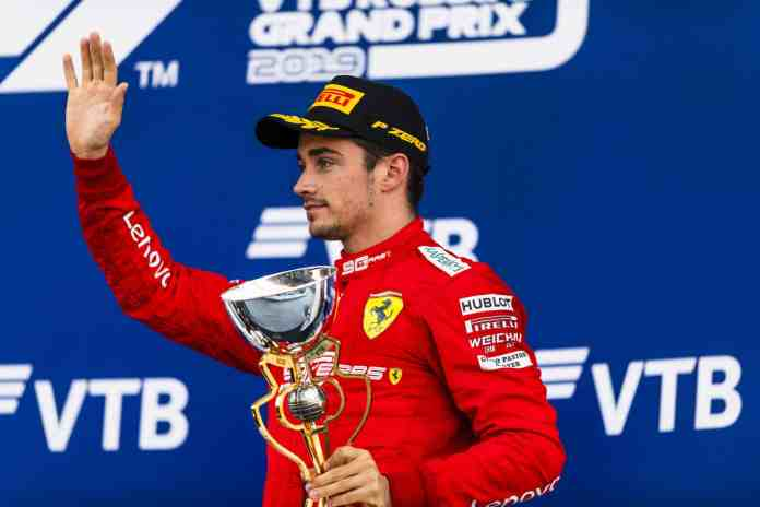2019 Russian Grand Prix, Sunday - Charles Leclerc on the podium (image courtesy Scuderia Ferrari Press Officer)