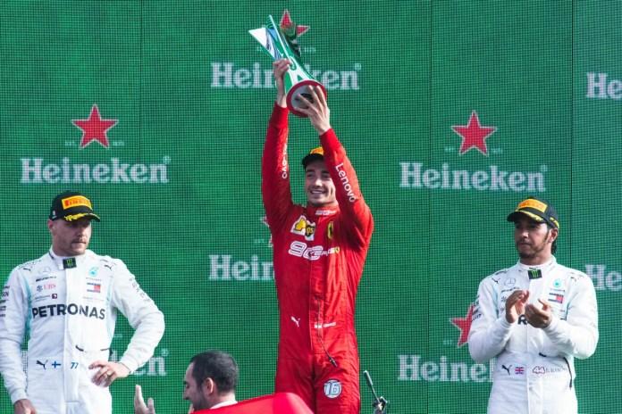 f1chronicle-2019 Italian Grand Prix, Sunday - Charles Leclerc on the podium (image courtesy Ferrari Press Office)