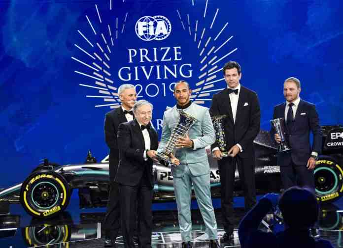 2019 FIA Prize Giving Gala: Toto Wolff, Lewis Hamilton and Valtteri Bottas receive their 2019 trophies (image courtest Mercedes-AMG Petronas)