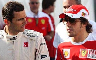 De la Rosa con su futuro compañero, Alonso