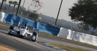 Josef Newgarden navigates his Penske around Sebring.