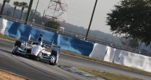 Josef Newgarden navigates his Penske around Sebring.