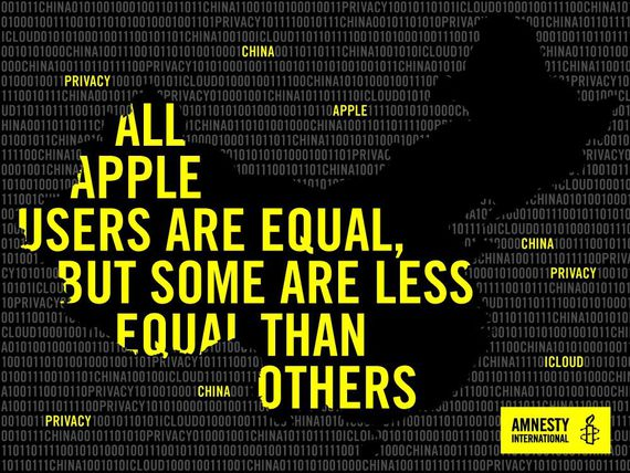 An Amnesty International campaign pressures Apple to improve privacy for Chinese customers of the iCloud data storage and sync service.